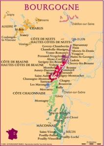 Mapa de la zona de Borgoña y algunas de sus AOC / bonnetgapenne.com