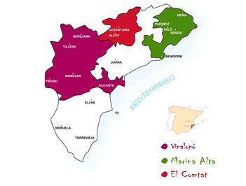 Mapa de las diferentes zonas que componen la DO Alicante / crdo-alicante.org