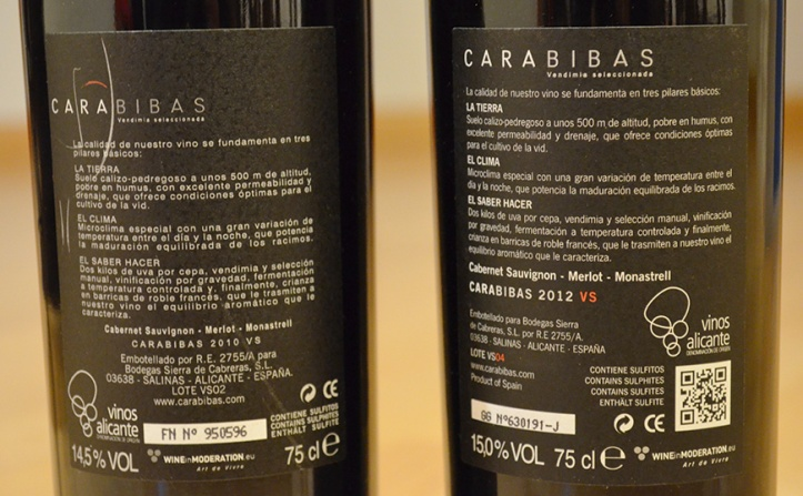 La bodega Sierra de Cabreras incluye el codigo QR en la contraetiqueta de su Carabibas VSdesde la añada de 2012.